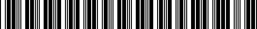 Barcode for 002280092013