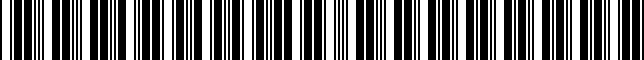 Barcode for 00289BTC00