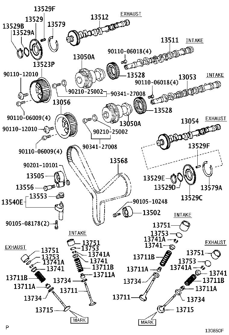 Diagram CAMSHAFT & VALVE for your 2006 Toyota Land Cruiser Base 4.7L 4WD AT