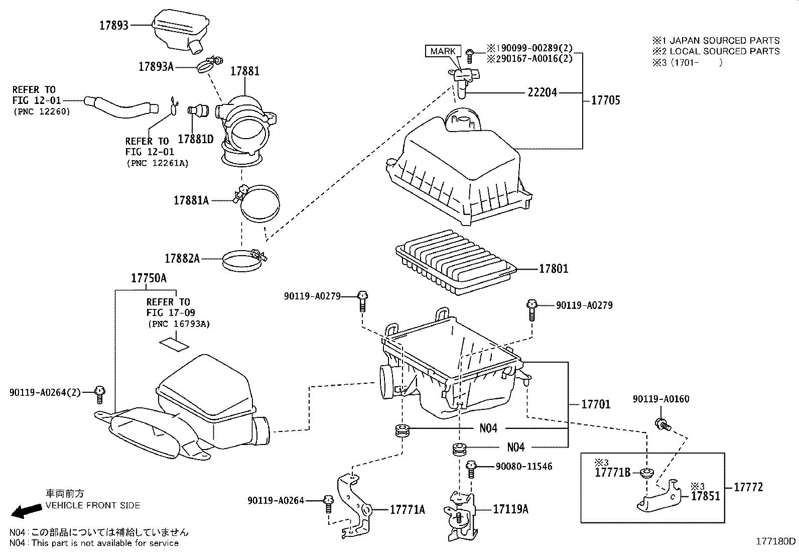 Diagram AIR CLEANER for your 2015 Toyota Camry SE