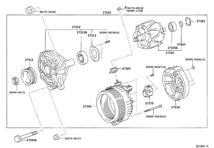 Diagram ALTERNATOR for your 2004 Toyota Sequoia LIMITED 4.7L V8 4WD AT