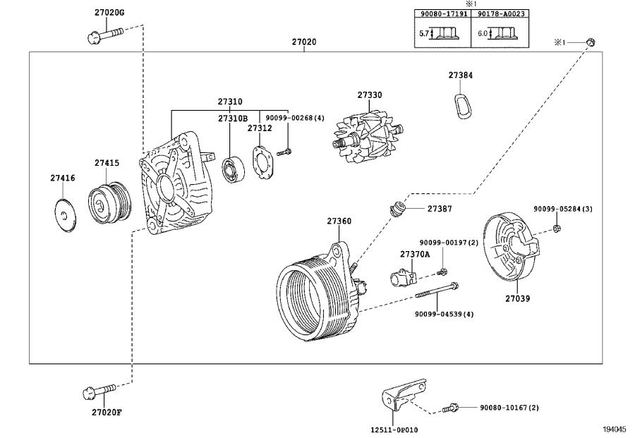 Diagram ALTERNATOR for your 2016 Toyota 4Runner