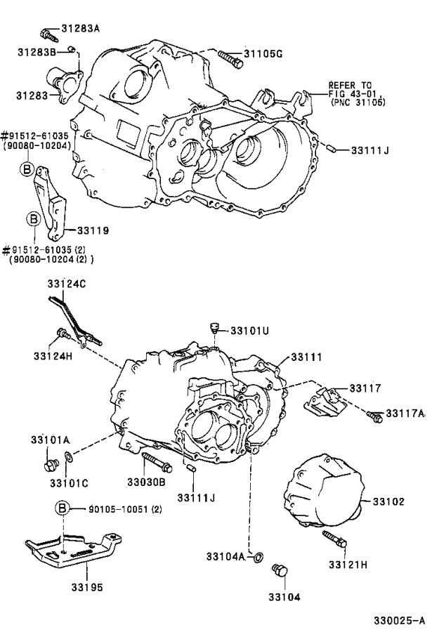 Diagram CLUTCH HOUSING & TRANSMISSION CASE (MTM) for your Toyota