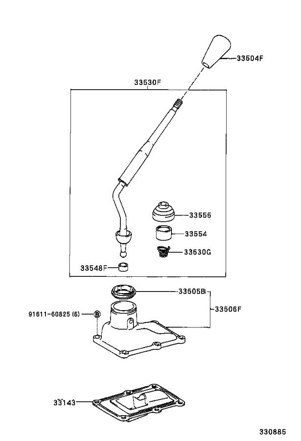 Diagram SHIFT LEVER & RETAINER for your 1993 Toyota 4Runner