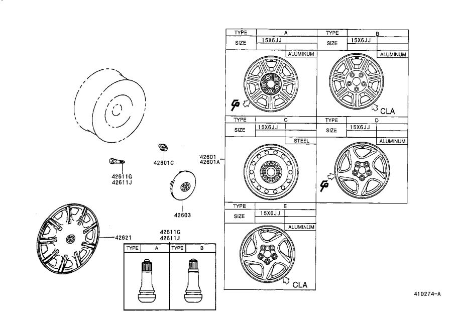 Diagram DISC WHEEL & WHEEL CAP for your 1995 Toyota Avalon