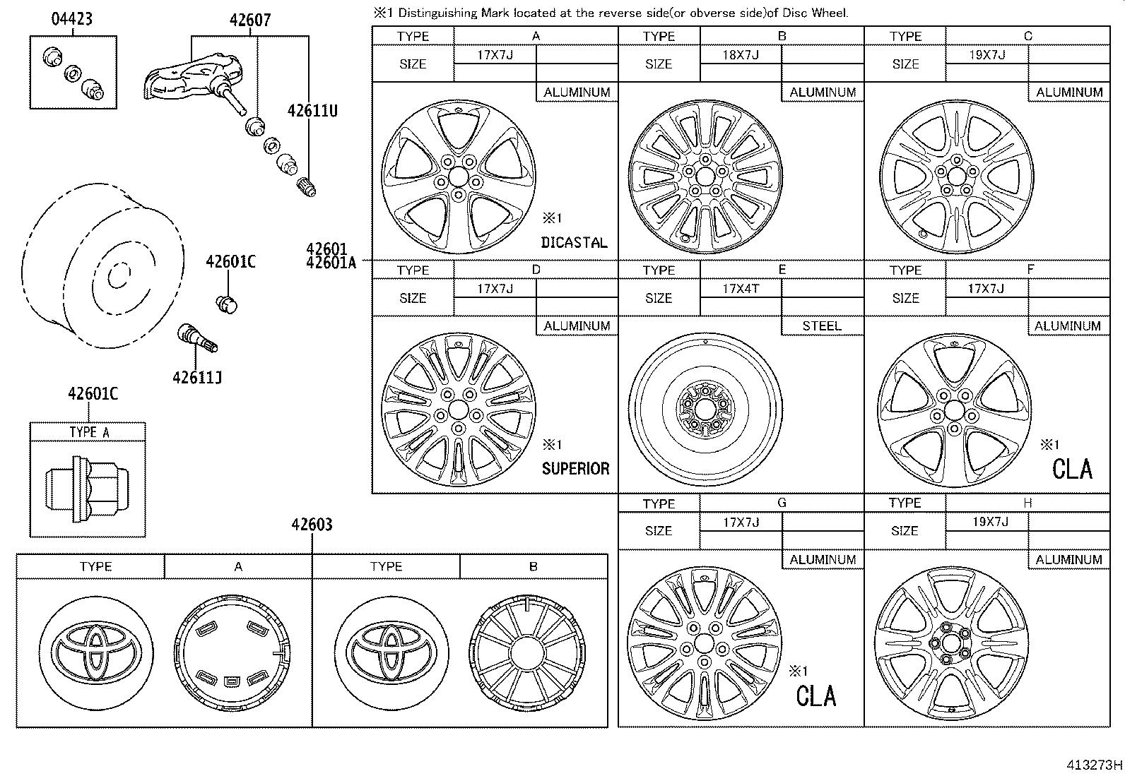 Diagram DISC WHEEL & WHEEL CAP for your 2014 Toyota Sienna