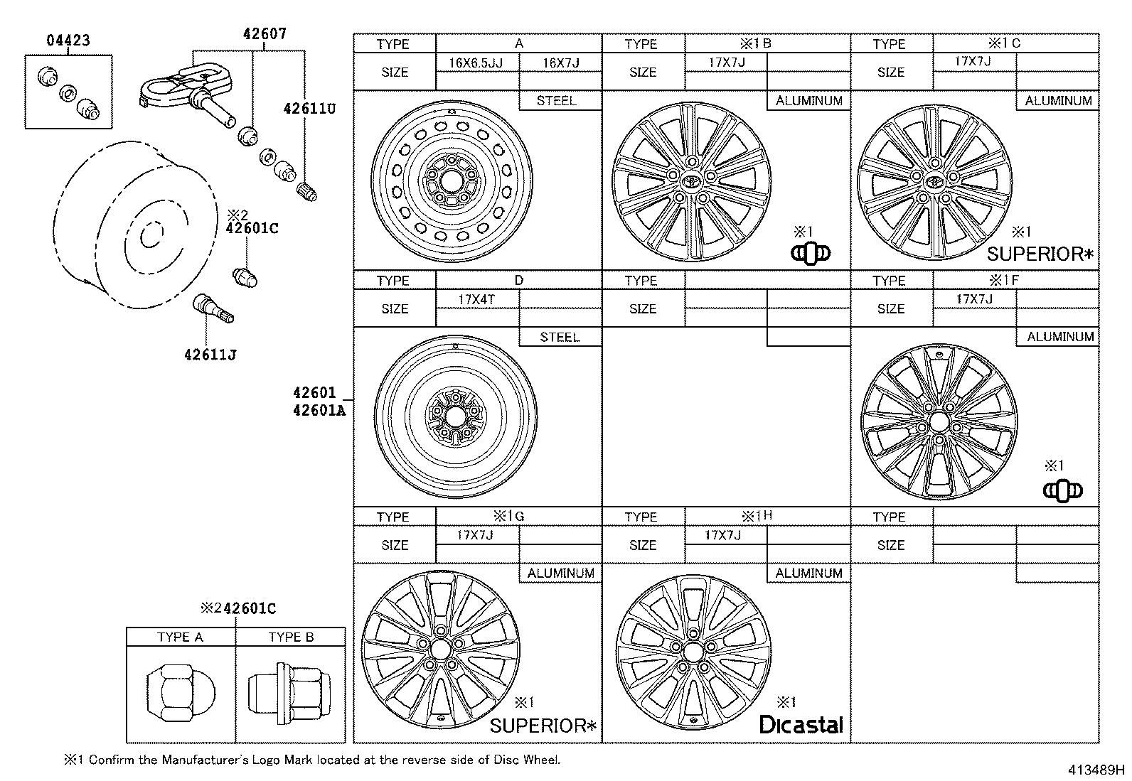 Diagram DISC WHEEL & WHEEL CAP for your 2014 Toyota Camry