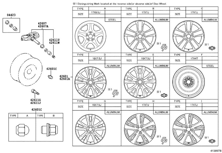 Diagram DISC WHEEL & WHEEL CAP for your 2002 Toyota RAV4