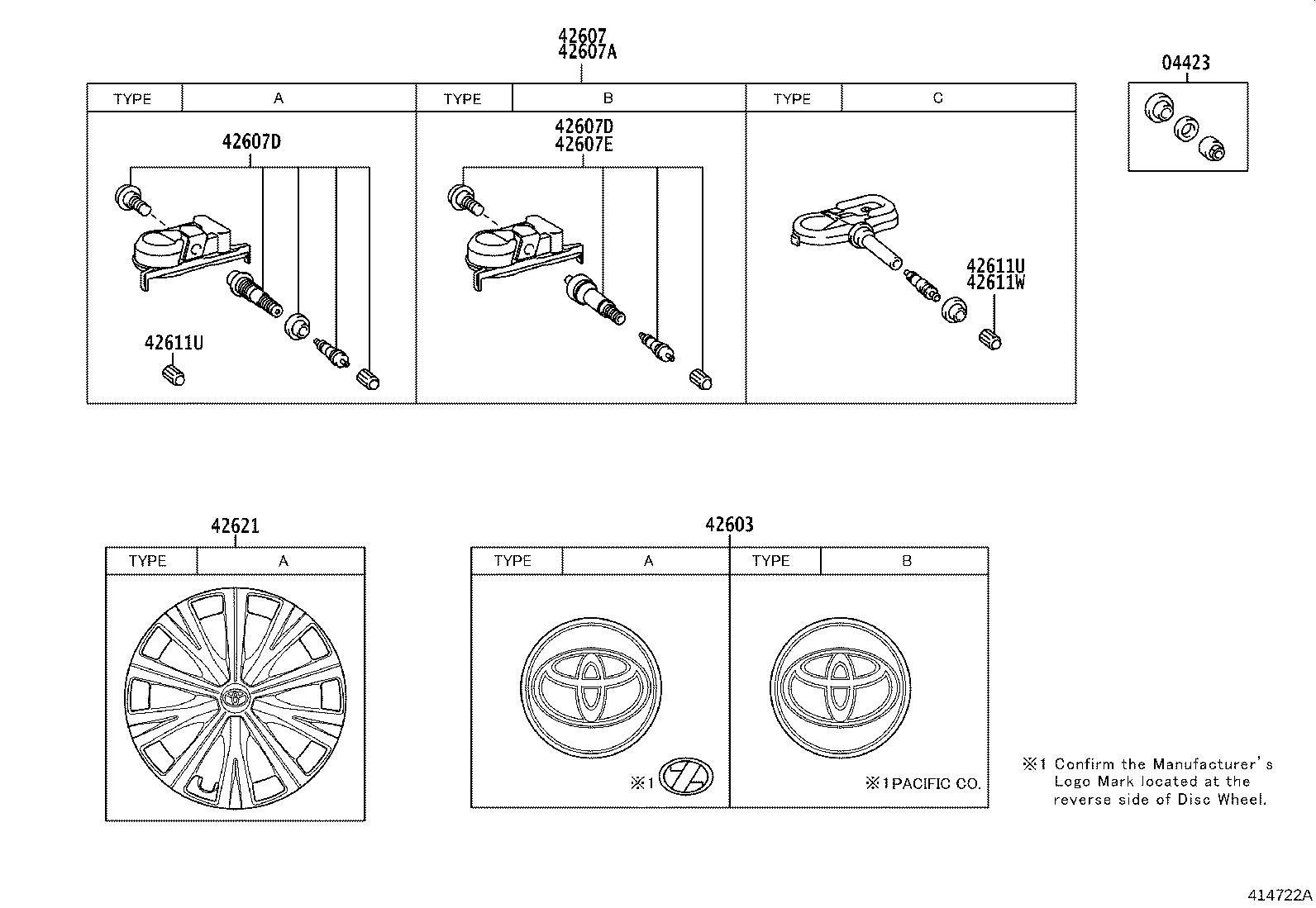 Diagram DISC WHEEL & WHEEL CAP for your Toyota Camry