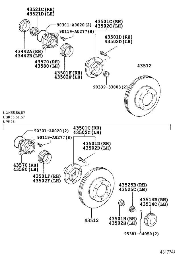 Diagram FRONT AXLE HUB for your 2001 Toyota 4Runner