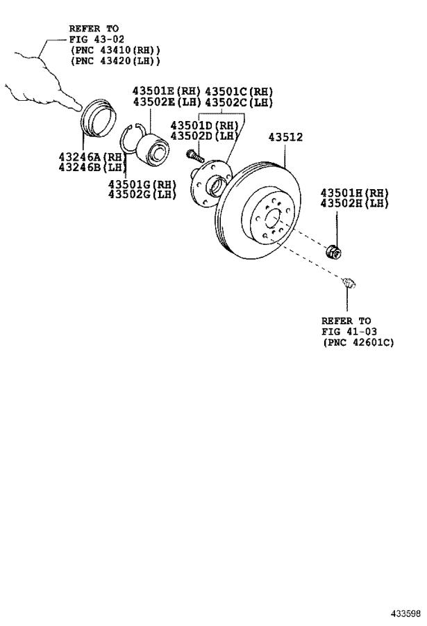 Diagram FRONT AXLE HUB for your 2005 Toyota MR2