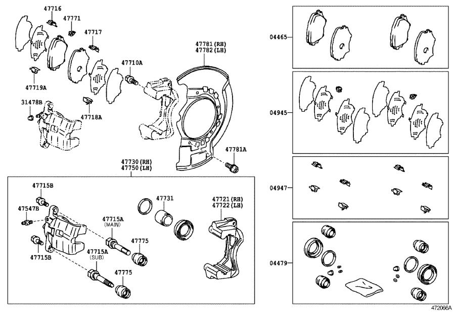Diagram FRONT DISC BRAKE CALIPER & DUST COVER for your 1999 Toyota Avalon