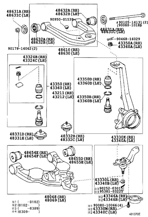 2000 toyota tundra suspension ball joint  left  right  front  upper  - 4331039016