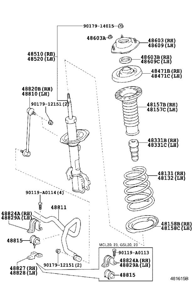 Diagram FRONT SPRING & SHOCK ABSORBER for your 2016 Toyota Sequoia