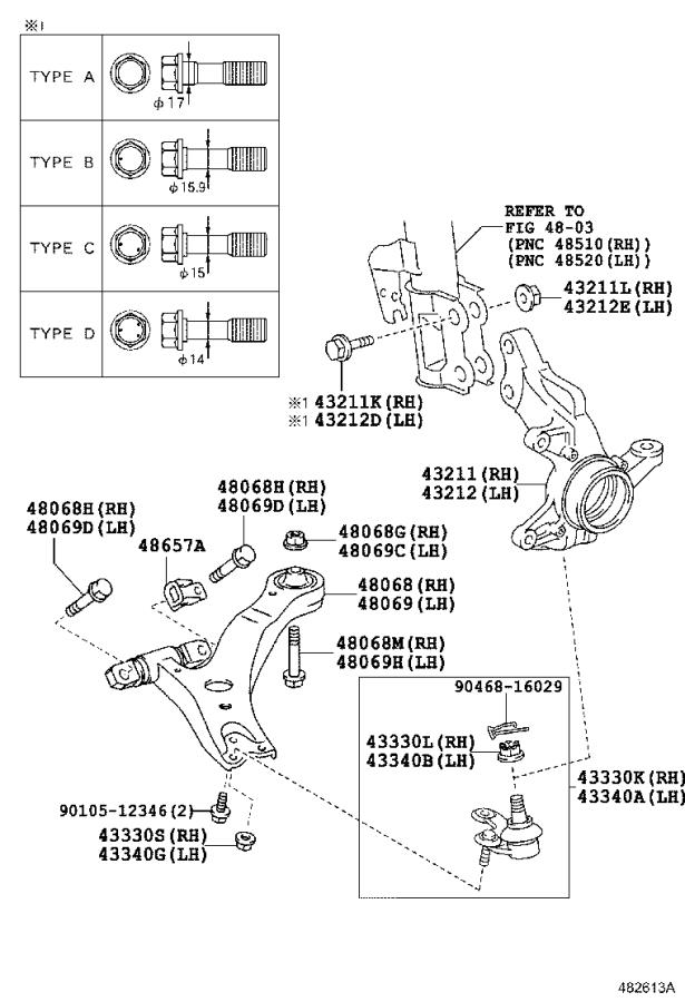 Toyota Highlander Suspension Control Arm  Right  Front