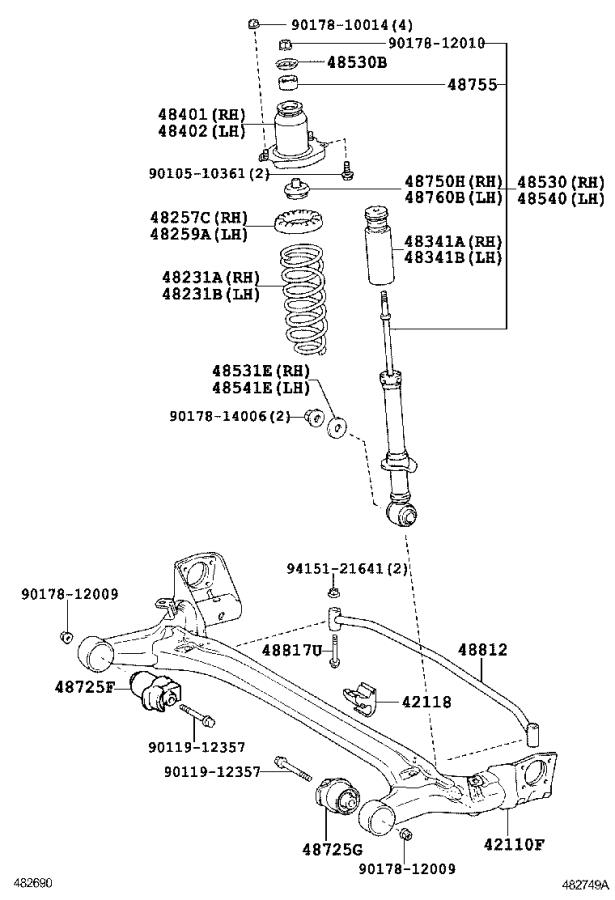 Toyota Corolla Suspension Stabilizer Bar  Rear