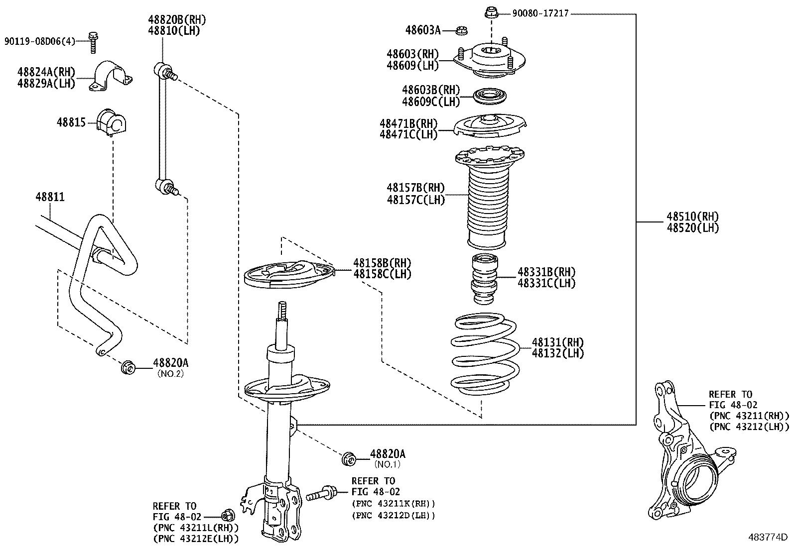 Diagram FRONT SPRING & SHOCK ABSORBER for your 2016 Toyota Tundra