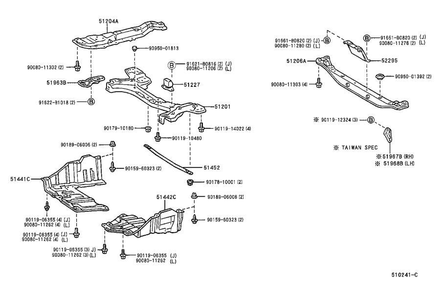 Diagram SUSPENSION CROSSMEMBER & UNDER COVER for your 1998 Toyota Corolla