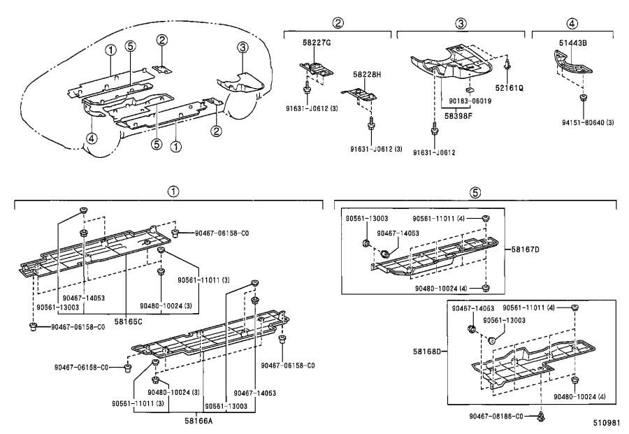 Diagram SUSPENSION CROSSMEMBER & UNDER COVER for your 2004 Toyota RAV4