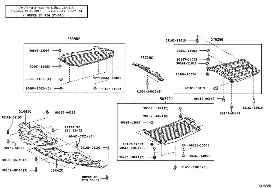 Diagram SUSPENSION CROSSMEMBER & UNDER COVER for your 2008 Toyota Camry