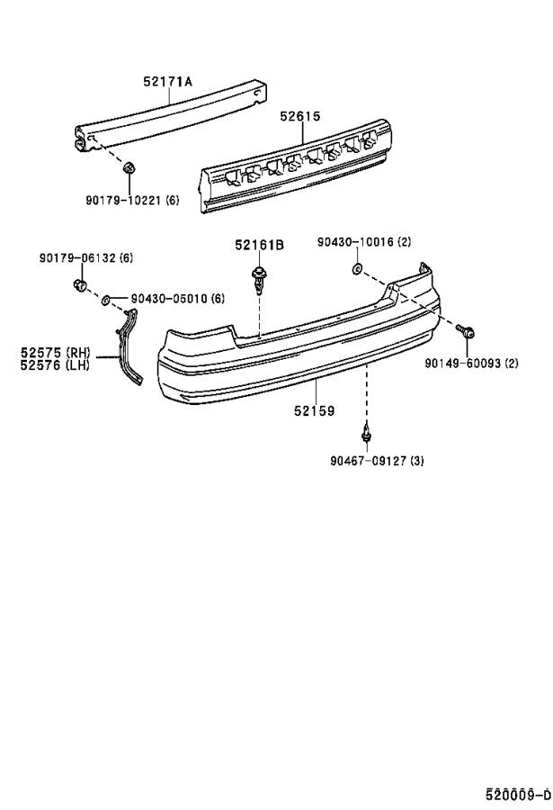 Diagram REAR BUMPER & BUMPER STAY for your 1999 Toyota Camry