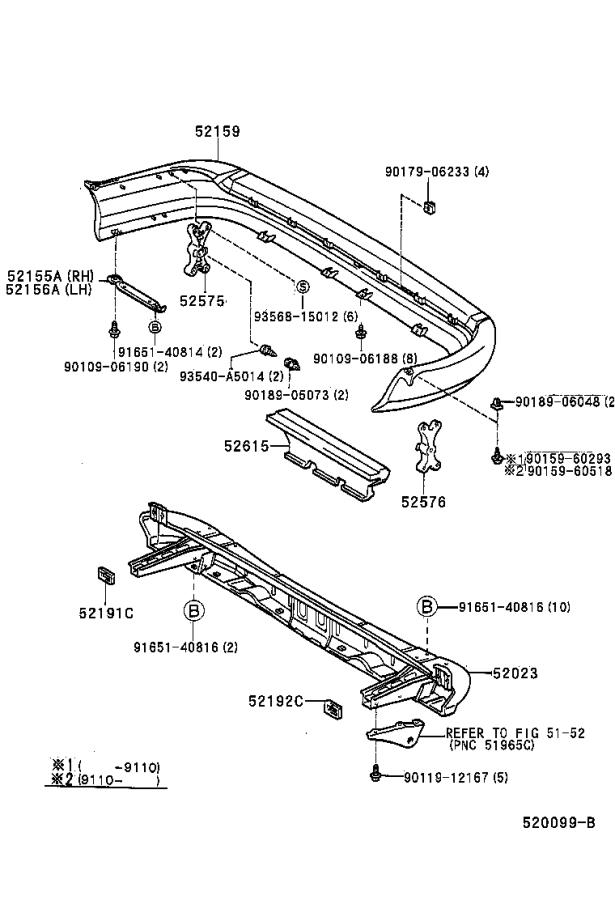 Diagram REAR BUMPER & BUMPER STAY for your 1996 Toyota RAV4
