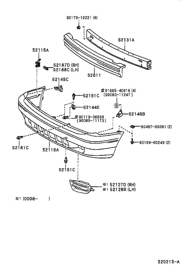 Diagram FRONT BUMPER & BUMPER STAY for your 1999 Toyota Sienna