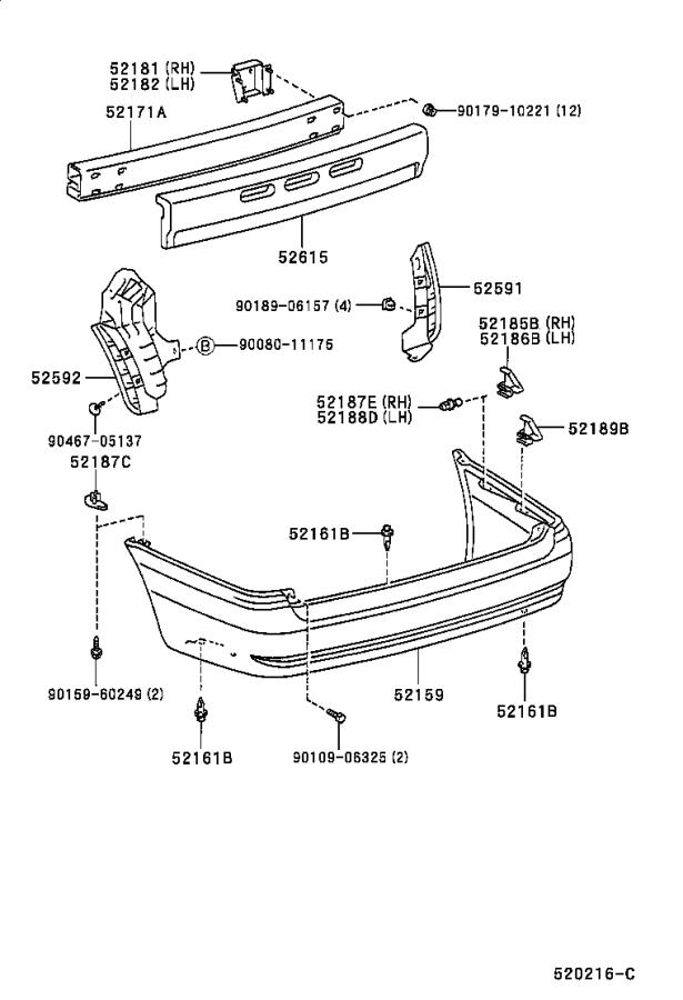 Diagram REAR BUMPER & BUMPER STAY for your 1999 Toyota Sienna