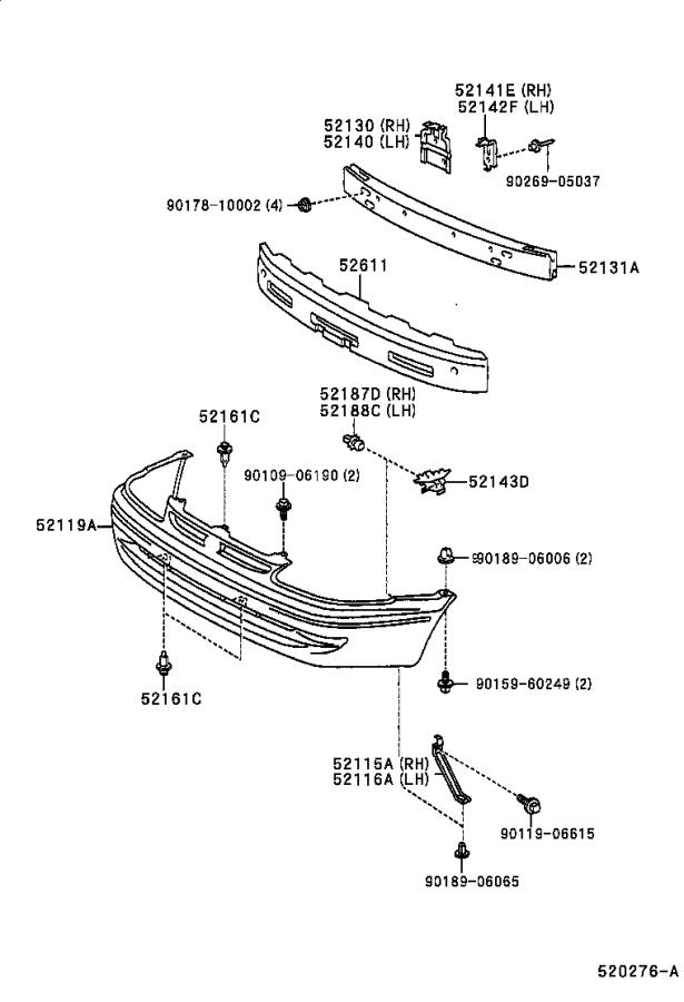 Diagram FRONT BUMPER & BUMPER STAY for your 1998 Toyota Corolla