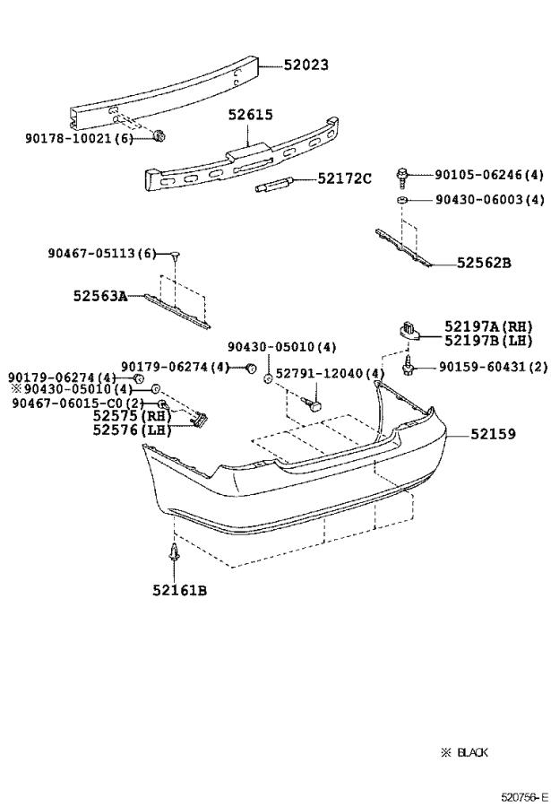 Diagram REAR BUMPER & BUMPER STAY for your 2005 Toyota Camry