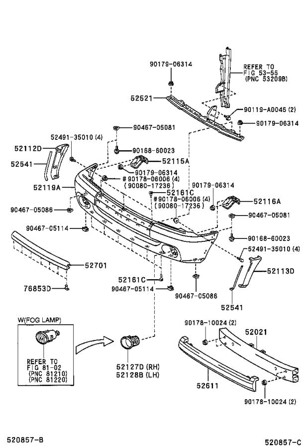 Diagram FRONT BUMPER & BUMPER STAY for your 2005 Toyota Tundra