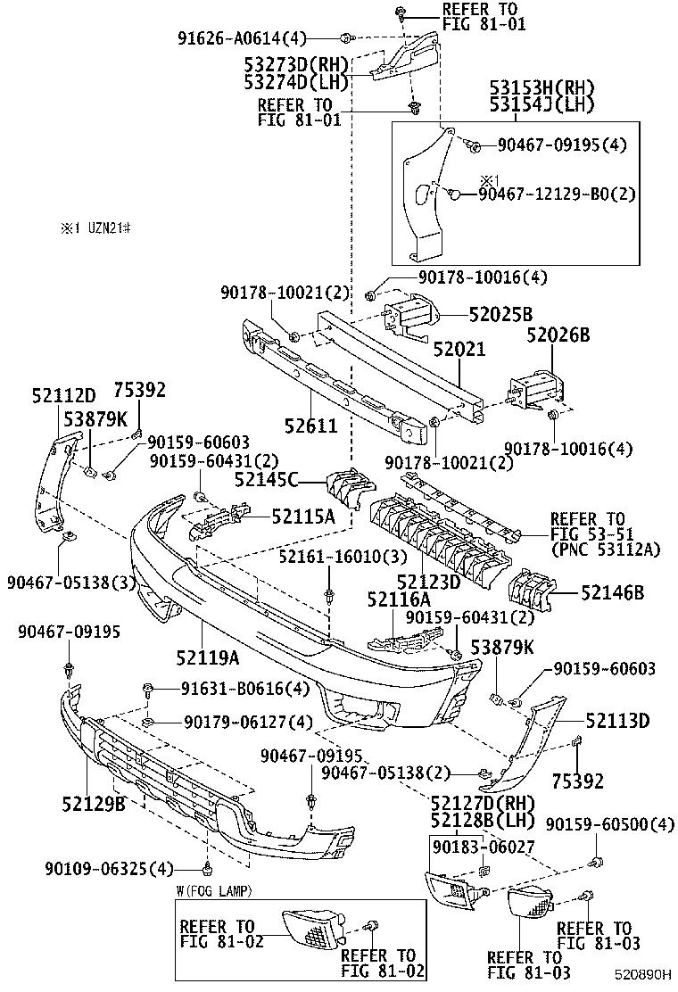Diagram FRONT BUMPER & BUMPER STAY for your 1996 Toyota Land Cruiser