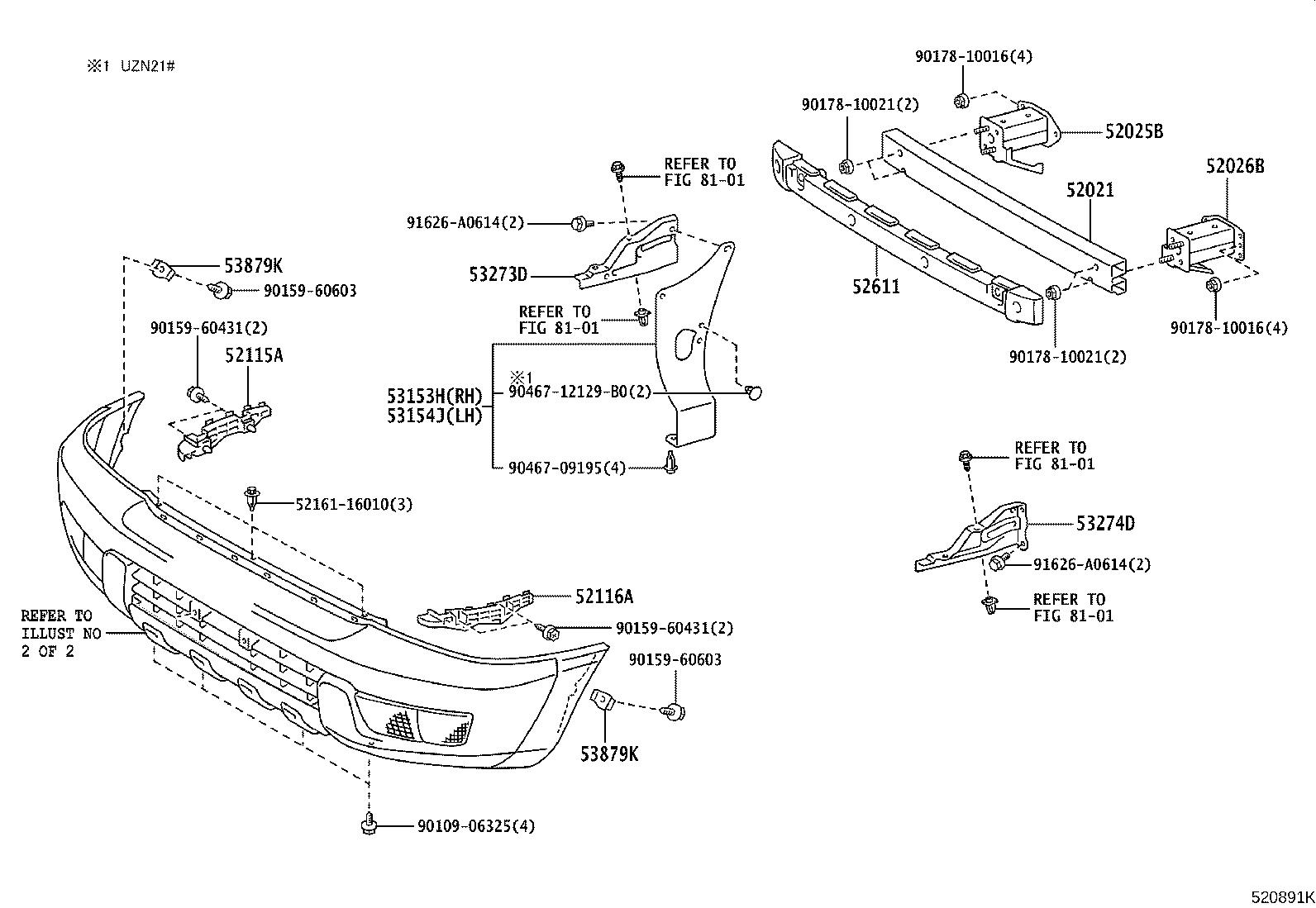 Diagram FRONT BUMPER & BUMPER STAY for your 2006 Toyota 4Runner