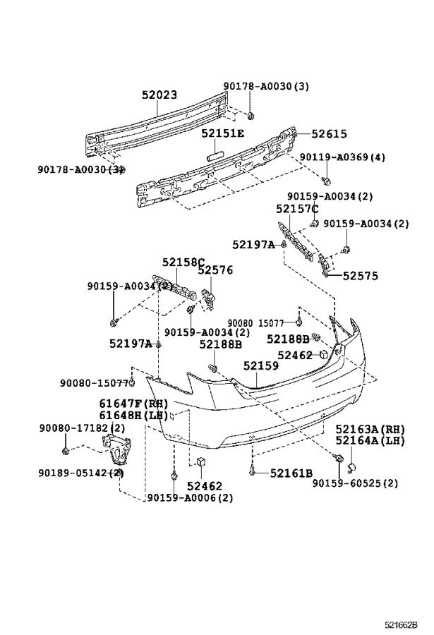 Diagram REAR BUMPER & BUMPER STAY for your 2007 Toyota Camry