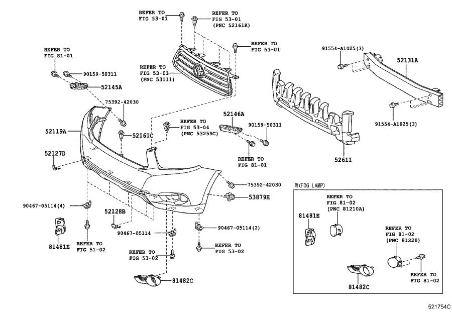 Diagram FRONT BUMPER & BUMPER STAY for your 2011 Toyota Highlander
