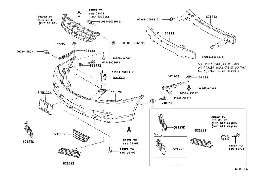 Diagram FRONT BUMPER & BUMPER STAY for your 2006 Toyota Avalon