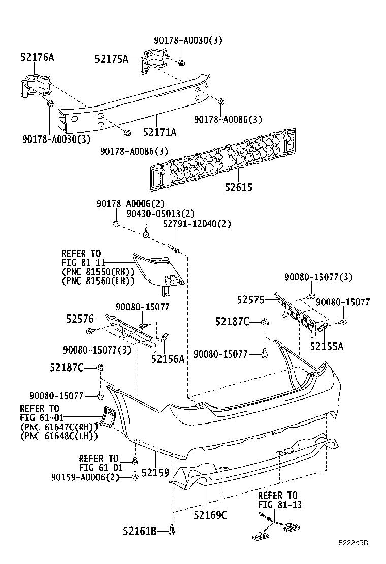 Diagram REAR BUMPER & BUMPER STAY for your 2009 Toyota Avalon
