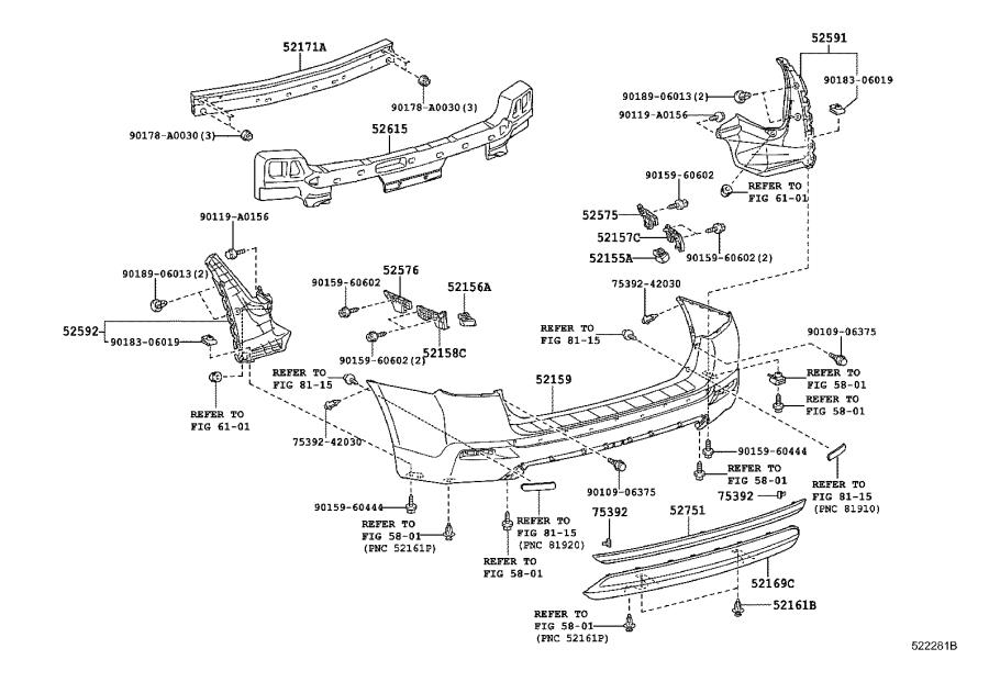 Diagram REAR BUMPER & BUMPER STAY for your 2011 Toyota Highlander
