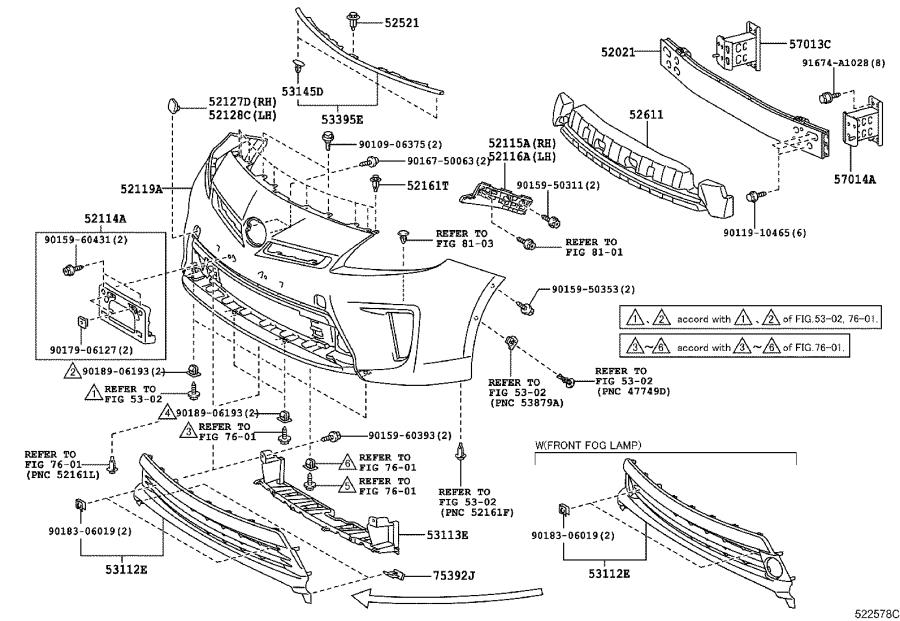 Diagram FRONT BUMPER & BUMPER STAY for your 1998 Toyota Camry