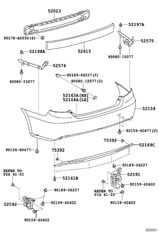 Diagram REAR BUMPER & BUMPER STAY for your 2015 Toyota Camry
