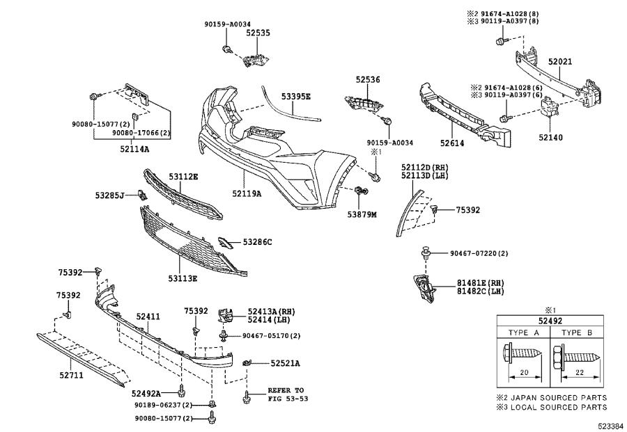 Diagram FRONT BUMPER & BUMPER STAY for your 2004 Toyota RAV4