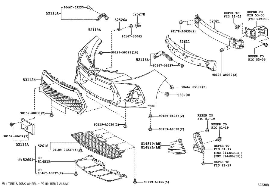 2014 toyota corolla front bumper parts diagram