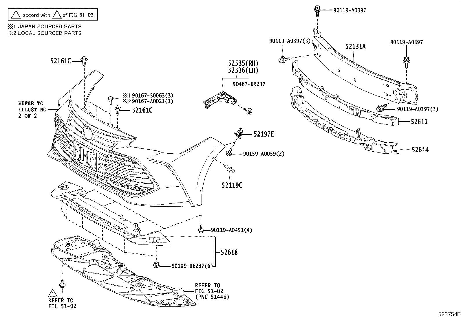 Diagram FRONT BUMPER & BUMPER STAY for your Toyota Avalon