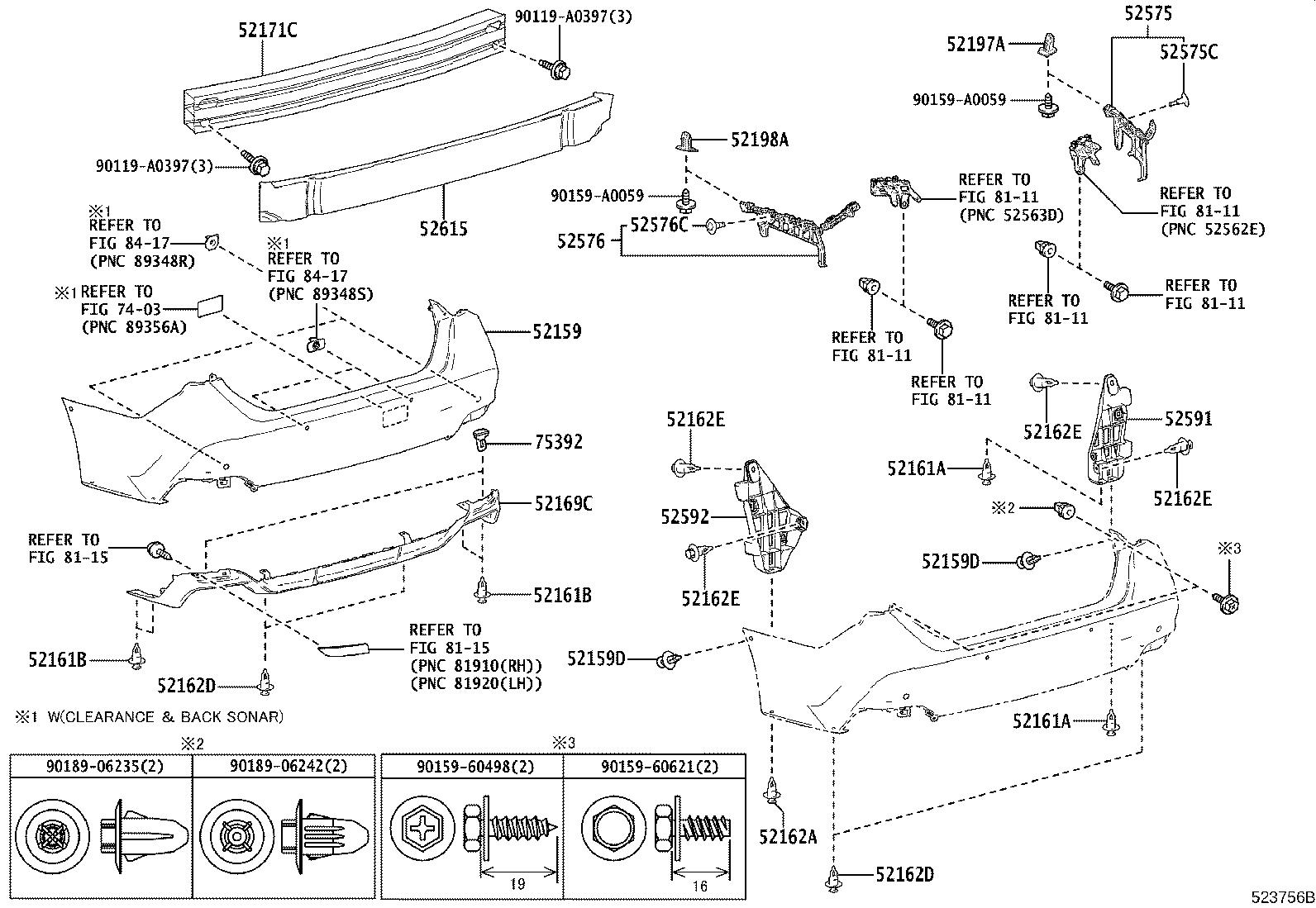 Diagram REAR BUMPER & BUMPER STAY for your Toyota Avalon