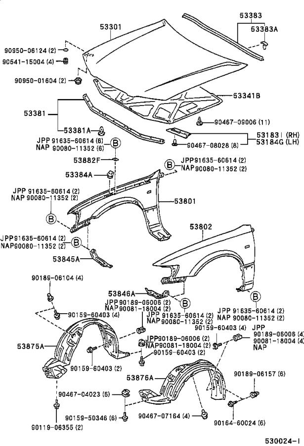 Diagram HOOD & FRONT FENDER for your 2001 Toyota Camry