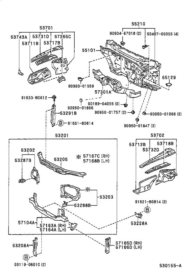 Diagram FRONT FENDER APRON & DASH PANEL for your 1996 Toyota Land Cruiser