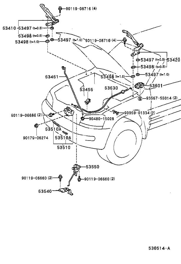 2002 toyota rav4 cable assembly  hood lock control