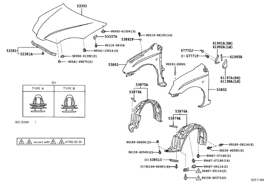 Diagram HOOD & FRONT FENDER for your 2002 Toyota Camry