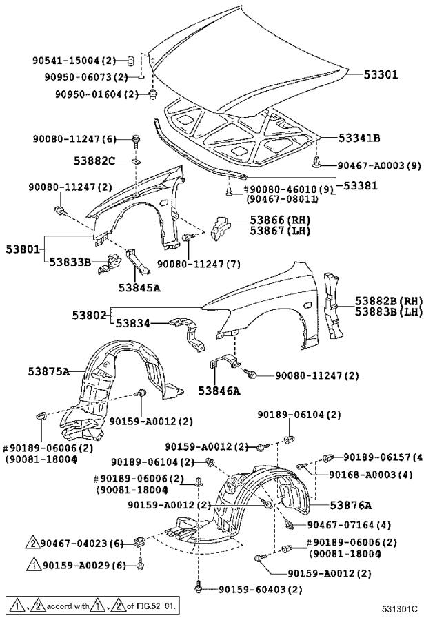 Diagram HOOD & FRONT FENDER for your 2000 Toyota Tundra