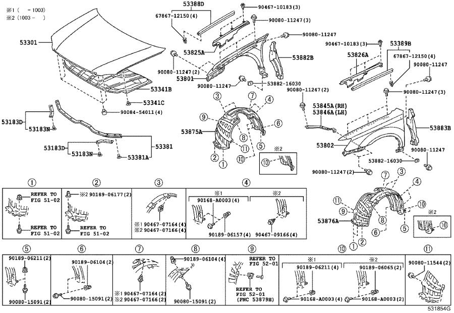 Diagram HOOD & FRONT FENDER for your 1991 Toyota Camry